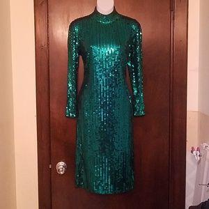 Vintage Oleg Cassini Emerald Sequin Cocktail Dress